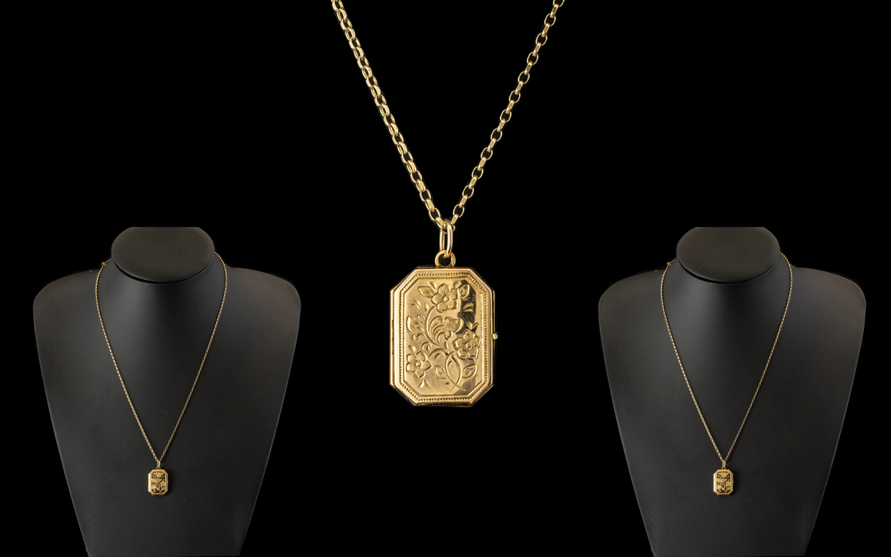 Ladies 9ct Gold Hinged Locket with Attached 9ct Gold Chain. Both with Full Hallmarks for 9ct.
