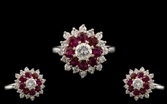 18ct White Gold - Attractive and Quality Ruby and Diamond Set Cluster Ring.