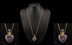 Sage Amethyst Perfume Bottle Pendant, a heart shaped perfume bottle cut from purple amethyst,
