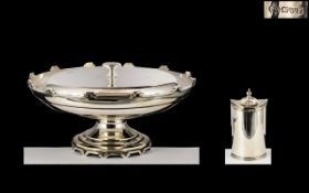 Walker & Hall Matched Sterling Silver Sweetmeat Pedestal Dish and Cover of Excellent Proportions