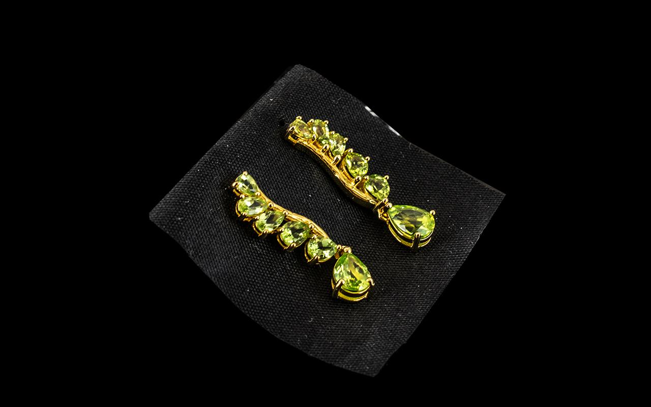Pair of Peridot Drop Earrings,