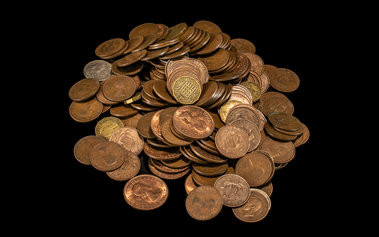 Bag of Old Copper Coins weighing approx 1.4 kg.