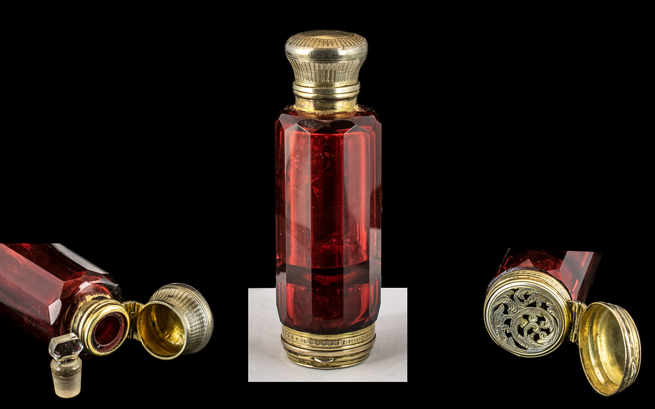Victorian Period - Excellent Quality Gilt Silver and Ruby Glass Combined Scent Bottle with Stopper