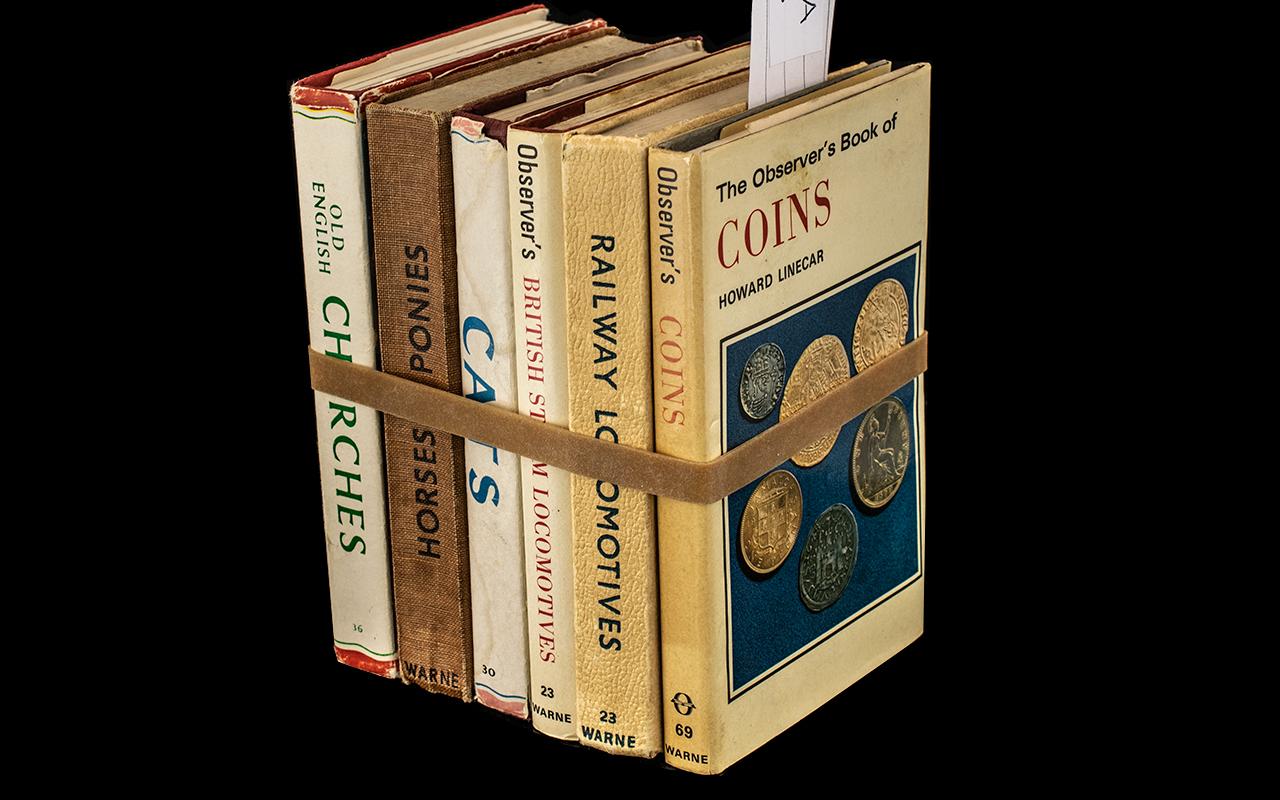 Six Vintage Observer Books, comprising Coins, Railway Locomotives of Britain, British Steam