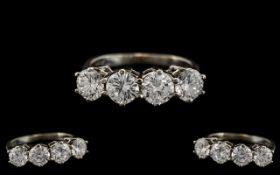 Ladies - Superb Quality 14ct White Gold 4 Stone Diamond Set Ring. Marked 14ct to Interior of