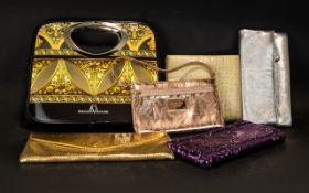 Collection of 6 Designer Evening Bags, comprising Michael Kors Gold, Jaegar silver,