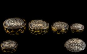 Lovely Quality Antique Tortoiseshell and Silver Boxes, four Victorian boxes of wonderful quality,