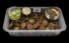 Large Collection of Old Copper Pennies, Victorian, Edwardian, George V, plus silver threepences,