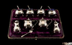 Edwardian Period Sterling Silver 12 Piece Cruet Set. Comprises 4 Salts and Spoons, 2 Lidded