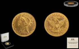 United States Liberty Head Gold Half Eagle Coin issued 1839-1908, weight 8.359g, diameter 21.6 mm.