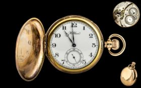 American Watch Co Waltham - Keyless 9ct Gold Full Hunter Pocket Watch with Excellent Movement.