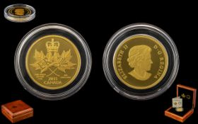 Royal Canadian Mint Maple Leaf 200 Dollars 24ct Gold Coin - Date 2015. Gold Fineness 999.