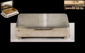 Gentleman's Superb Sterling Silver Table / Desk Cigarette Box With Cedar Wood Interior.