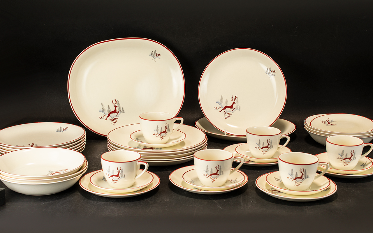 """Collection of Crown Derby 'Stockholm' Pattern China, comprising: large 13.5"""" Platter, 11."""