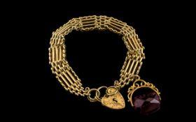 Antique Period 9ct Gold - Fancy 5 Bar Ga