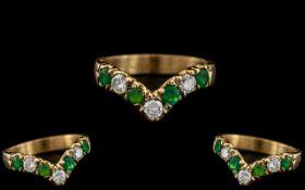 18ct Gold - Attractive Diamond and Emera
