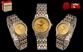 Omega - Ladies 18ct Gold and Steel Diamo