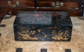 19thC Oriental Lacquered Writing Slope,