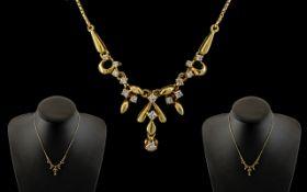 18ct Yellow Gold - Attractive Diamond Se