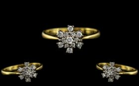 18ct Gold - Attractive Diamond Set Ring