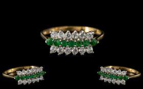 Ladies - Attractive 9ct Gold Diamond and