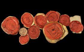 Collection of Ten Antique Wax Seal Impre
