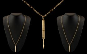9ct Gold Long Belcher Chain with Attache