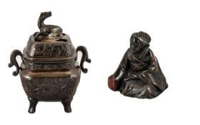 Chinese Antique Bronze Lidded Incense Bu