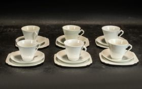 A Shelley Style White Porcelain Tea Set,