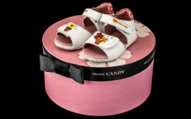 Prada Candy Box - Pink with flowers on lid and Prada ribbon, excellent condition.