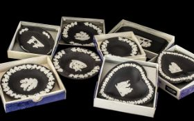 Wedgwood Black Jasper - 8 Assorted Boxed Dishes, various styles comprising: 4 round sweet dishes,
