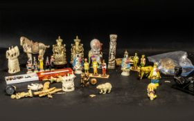 Collection of Assorted Small Oriental Items, including carved figurines, elephants, horses,
