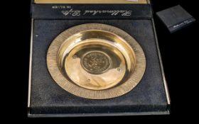 Silver Hallmarked 25th Wedding Anniversary Dish, Sheffield 1972, 5oz,