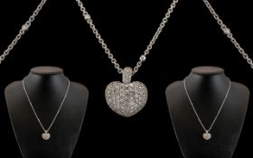 18ct White Gold - Superb Quality and Attractive Heart Shaped Diamond Set Pendant / Locket with
