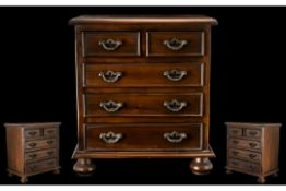 Mahogany Apprentice Piece Chest of Drawers. Of Heavy and Solid Constructions.