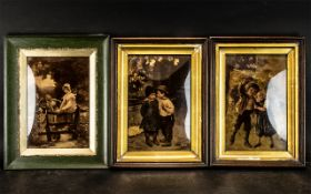 Collection of Three German Crystoleums, two depicting young children at play, and the third two