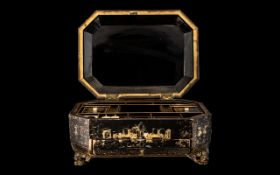 Chinese Export Lacquered and Gilt Painted Sewing Box, c1860,