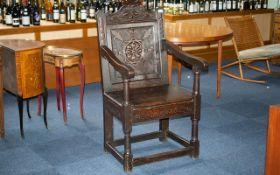 17thC Derbyshire' Bible Box' Lift-up Lidded Wainscot Armchair,