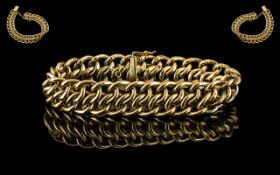 Antique Period Superb Quality and Well Designed 9ct Gold - Embossed Ornate Triple Link Bracelet.