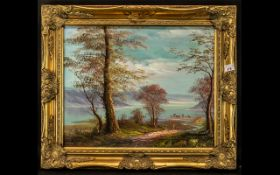 Pair of Winter Scene Paintings, framed in ornate gilt frames,