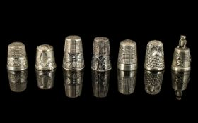 Superb Collection of Antique Period Assorted Sterling Silver Thimbles.