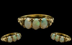 Ladies - Attractive 9ct Yellow Gold - 3 Stone Opal Set Ring, Ornate Setting,