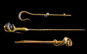 Antique Period - A Good Collection of 9ct and 18ct Gold Stick Pins ( 3 ) In Total.