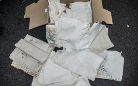 Box of Vintage Linen comprising embroidered, crochet, lace, tablecloths, napkins, etc.