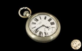 Large Base Metal Military Watch, the white enamel dial with maker's name, H.Williamson Ltd.