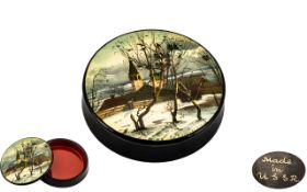 Russian - Vintage Signed and Hand Painted Circular Lidded Box,