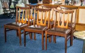 G Plan: Set of Six Teak Designer Chairs with drop-in leatherette seats;