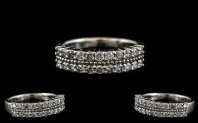 18ct White Gold Attractive Diamond Set Half - Eternity Ring. Full Hallmark for 750 - 18ct.