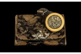 Japanese Meiji Period Silk Purse With an Ivory Toggle Attached. With a Sage and Dragon Decoration