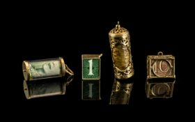 Excellent Collection of 9ct Gold Vintage Charms with Various Banknotes Within,